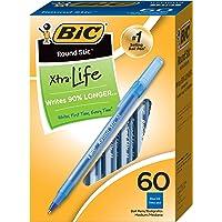 60-Count BIC Round Stic Xtra Life Ballpoint Pen Medium Point (1.0mm,Blue)