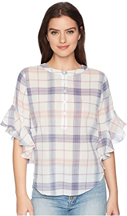 TWO by Vince Camuto - Flutter Sleeve Pavilion Plaid Henley Blouse