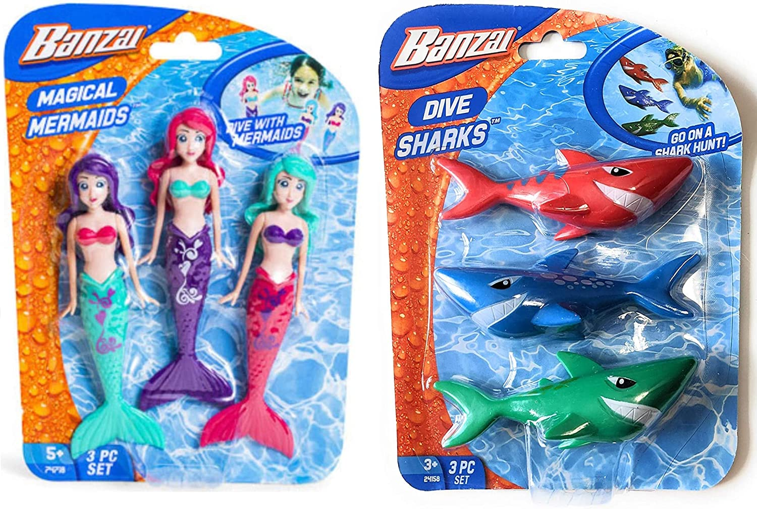 Banzai 3 Piece Magical Mermaid Dolls and 3 Piece Dive Sharks Pool Toys Bundle Set of Pool Toys: Toys & Games