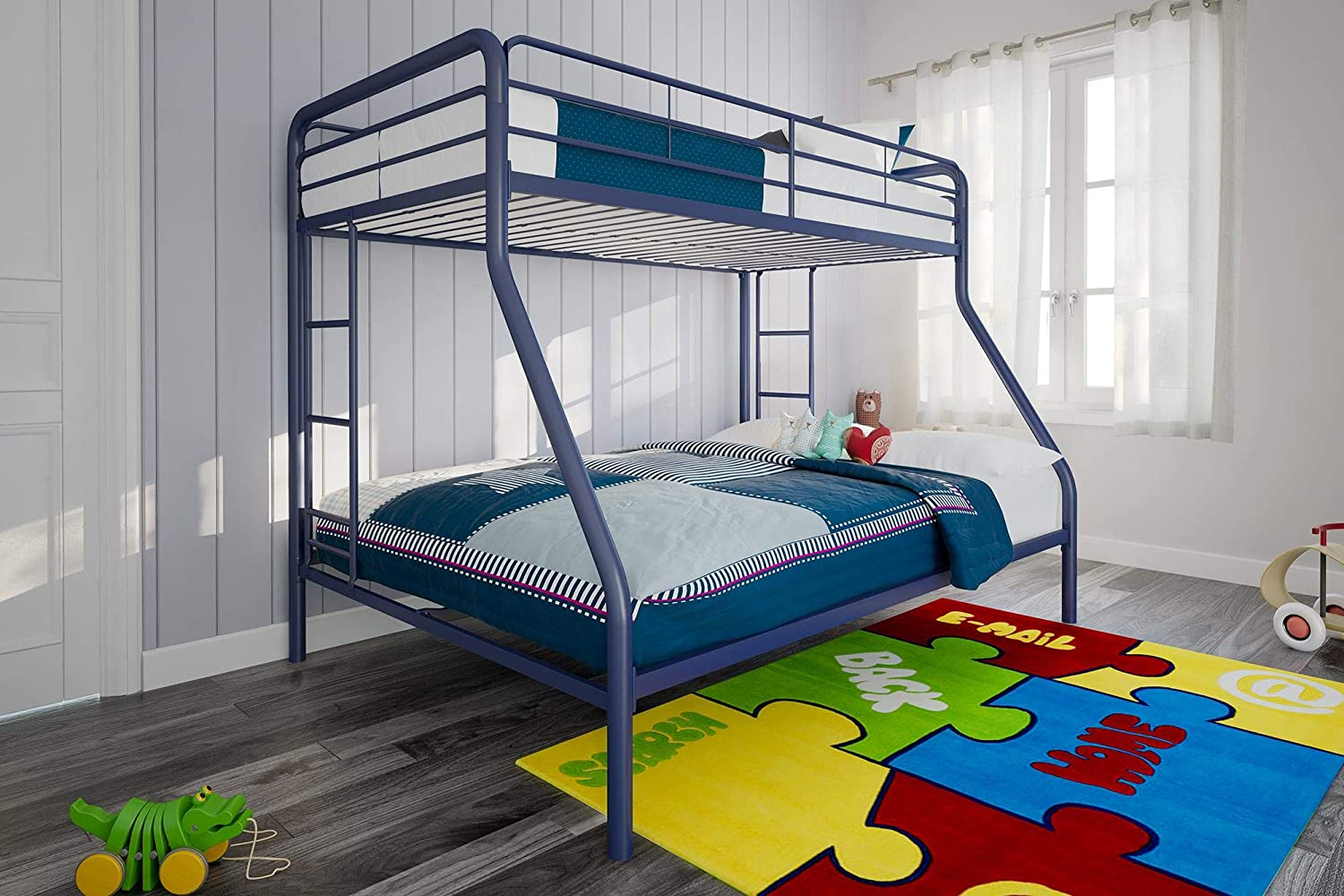 Buy Dhp Twin Over Full Bunk Bed With Metal Frame And Ladder Space Saving Design Blue Online In Turkey B077jbmr7f
