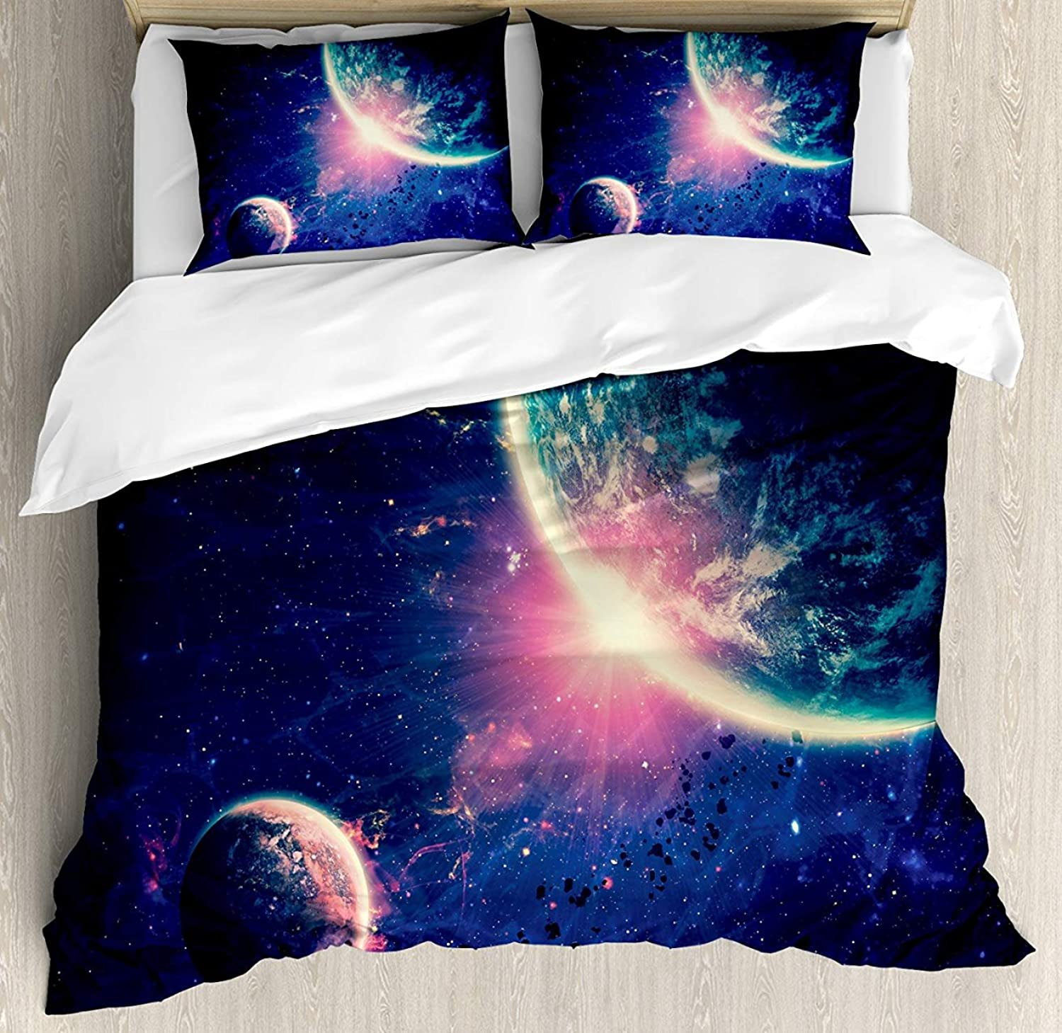 Galaxy Bet Set 4pcs Bedding Sets Duvet Cover Flat Sheet with Decorative Pillow Cases King Size for Kids Adults TeensOuter Space Theme Planet Earth Mars in Space Discovery of Universe Astronomy Art