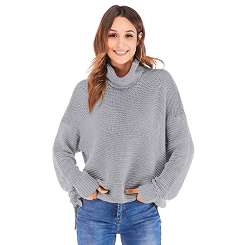 e2304312389fe7 Angashion Women's Casual Long Sleeve Turtleneck Cable Knit Oversized Pullover  Sweater Tops