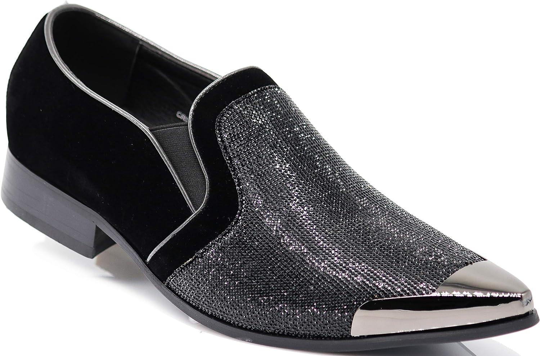 Enzo Romeo CRT Men Rhinestone Chrome Toe Suede Pointy Dress Loafer Slip On Fashion shoes