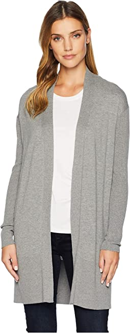 Open Cardigan with Rib Trim and Sleeves