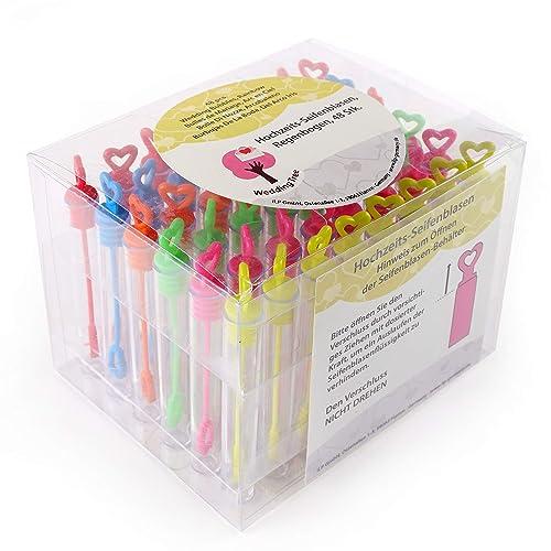 WeddingTree® Set de pompas de jabón con colores del arco iris - 48 piezas con