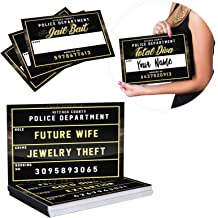 Bachelorette Party Mugshot Signs Supplies - Hilarious Girls Night Out Photo Booth Props Decorations for Bridal Shower, Engagement Parties, Weddings & Bride Tribe - 40 Variations, 20 Reversible Signs