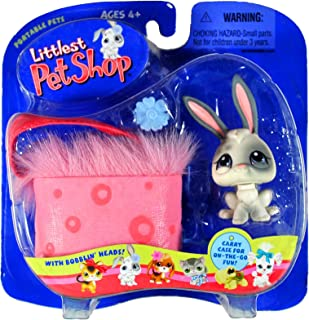 Hasbro Year 2004 Littlest Pet Shop Portable Pets Series Collectible Bobble Head Pet Figure Set - White Bunny Rabbit with Grey Spot Plus Flower Clip, Water Bottle and Fluffy Pink Cozy Carrier Bag (50149)