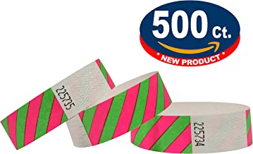 Tyvek Pulseras - A rayas - 500 unidades - Verde-Rosa neón - Tyvek pulseras para eventos