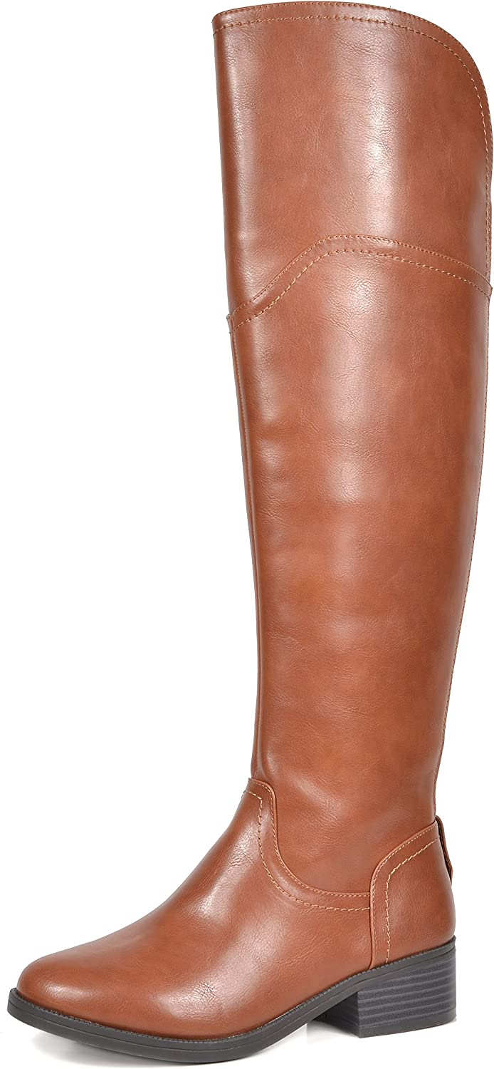 TOETOS Women's Hope Tan Over The Knee Riding Boots Size 7 M US