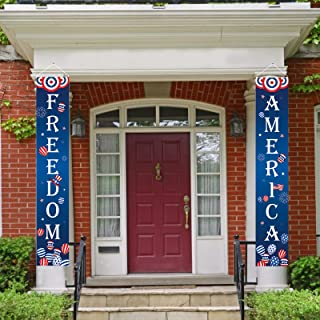 AOLIGO Fourth of July Decoration Outdoor Patriotic Porch Sign Welcome Sign Decoration Set 4th of July Patriotic Welcome Ba...