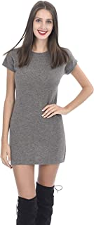 Women's Cap Sleeves Knitted Tunic 100% Pure Cashmere Short Sweater Dress