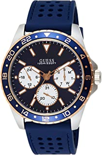 Guess Mens Quartz Watch, Analog Display and Rubber Strap W1108G4