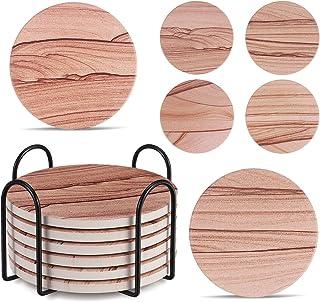 Coaster for Drinks, JOSEKO Set of 8 Non-Slip Heat Resistant Washable Set Bohochic Style Desert
