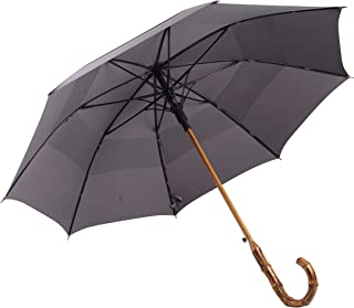 UK Designed—Balios Prestige Walking Stick Umbrella—Bamboo Handle—Double Canopy (Metallic Gray)