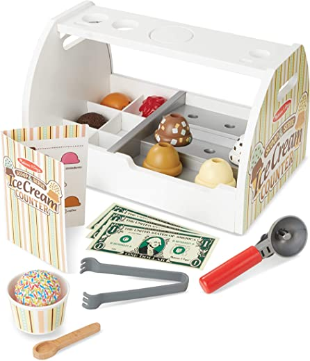 Melissa & Doug Wooden Scoop & Serve Ice Cream Counter (Play Food and Accessories, 28 Pieces, Realistic Scooper, Great Gift for Girls and Boys - Best for 3, 4, 5 Year Olds and Up)