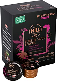 Mr and Mrs Mill Espresso Dark Roast Verismo Compatible Pursue Your Power Single Serve Coffee Pods 72 Count (6 boxes of 12 Pods each)