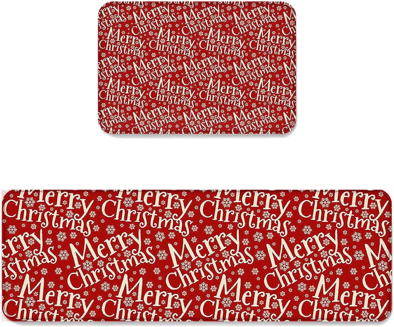 2 pcs Kitchen Mat Doormat Runner Rug Set, Kids Area Rug Bedroom Rug Non-Slip Rubber Backing Door Mats Merry Christmas Words Pattern with Snowflake Arrangement 19.7'' x 31.5'' + 19.7'' x 47.2''