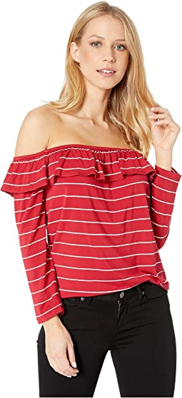 cc2dbbaa02f21 Bare Shoulder Eyelet Top.  64.77MSRP   85.00. Scooter Red