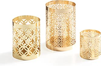 Danya B. KF1608GLD Home Accents - Metal Filigree Hurricane Candle Holders - Various Sizes Patterns (Set of 3) - Gold