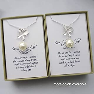 Ivory Pearl Necklace, Mother of the Bride Jewelry, Mother of the Groom Jewelry, Stepmother Gift, Gifts for Moms, Wedding Necklace, Orchid Necklace, Pearl Necklace