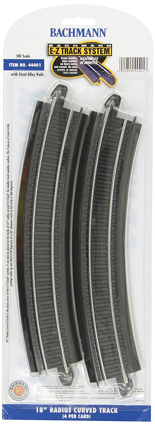"Bachmann Trains Snap-Fit E-Z Track 18"" Radius Curved Track (4/card)"
