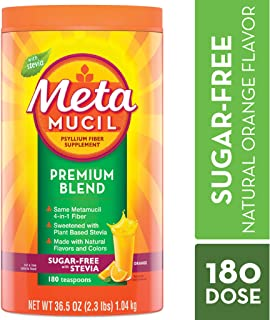 Metamucil Fiber, Premium Blend, Psyllium Fiber Powder Supplement, Sugar-Free with Stevia, Natural Orange Flavor, 180 Servings, 36.5 Ounce