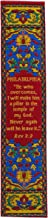 Woven Fabric Christian Bookmark, Philadelphia, Signs of The End Times, Promises of The Seven Churches of Revelation, Silky...