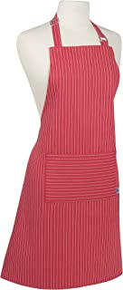 Now Designs Basic Cotton Kitchen Chef's Apron, Pinstripe Chili Red