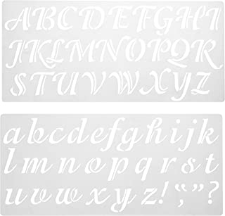 Darice 121724 Calligraphy Font Upper and Lower Case Alphabet Stencil, 2-Inch, 1 Set, Original Version