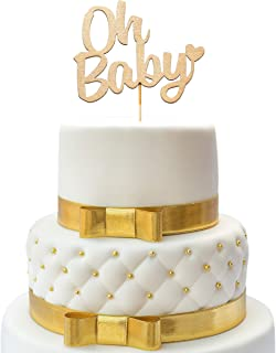 Cake Topper Baby Shower - Oh Baby - Shower Cake Topper - Gold Cake Topper Wooden for Baby Showers and Gender Reveal Parties - Oh Baby Cake Topper - Gold Oh Baby for Parties Baby Birthdays