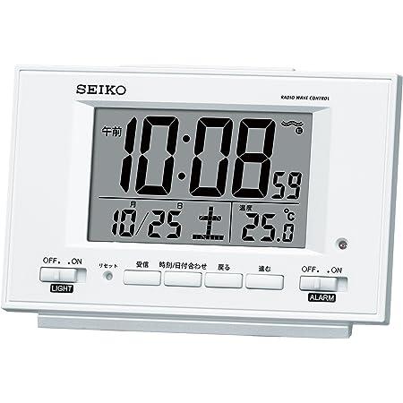 セイコー クロック 目覚まし時計 自動点灯 電波 デジタル カレンダー 温度 表示 夜でも見える 白 パール SQ778W SEIKO