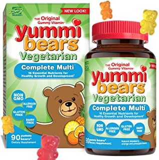 Yummi Bears Vegetarian Multivitamin and Mineral Supplement, Gummy Vitamins for Kids, 90 Gummies