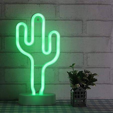 Kaktus Leuchtreklamen Nachtlichter Leuchten f/ür Kinder Weihnachten XIYUNTE Kaktus Neonlicht mit Fernbedienung Leuchtschilder Stromversorgung /über Batterie und USB Schlafzimmer