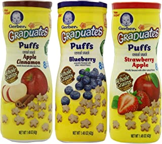 Gerber Graduates Puffs Cereal Snack Variety Pack - Blueberry, Strawberry-Apple, Apple Cinnamon