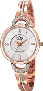 Burgi Women's Swiss Quartz Diamond Watch - Silver Dial Genuine Diamond Hour Markers On Crystal Accented Bracelet - BUR105