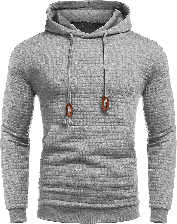 Men's Hooded Sweatshirts Plaid Jacquard Drawstring Hoodies Pullover Tops Casual Fashion Solid Designer Shirts Blouse