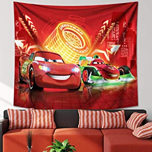 Cars Tapestry Movie Cars Lightning McQueen Party Backdrop Decoration Wall Hanging for Boys Bedroom Gifts 50x60in