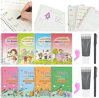 28 Pcs Magic Calligraphy Set, Reusable Handwriting Copybook Set for Kids Including 8 Copybooks, 2 Pens, 2 Writing Aid Grip...
