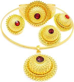 Ethiopian Habesha Dubai Gold Jewelry Eritrea Traditional African Bride Necklaces Sets for Wedding