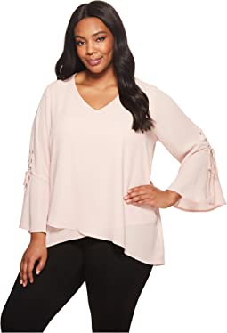 Plus Size Split Tie-Sleeve Top
