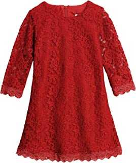 Balasha Flower Girls Lace Dress Country Weeding Party Dresses, White Black Red - Red - 3T