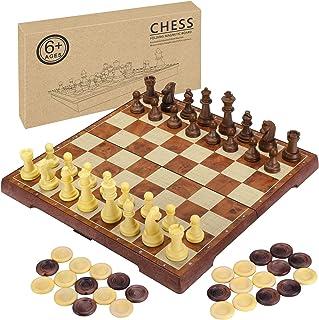 Fixget Jeu d'échecs et de Jeu de Dames Plateau, Jeu d'échecs Magnétique Pliable 30x30cm Portable de Voyage Plateau et les ...