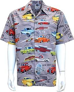 David Carey Chevy Chevrolet Trucks Camp Shirt – Retro Inspired Button up Collared Short Sleeve Grey Club Shirt