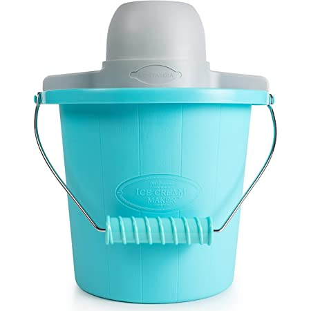 Nostalgia Electric Maker With Easy-Carry Handle Makes 4-Quarts of Ice Cream, Frozen Yogurt or Gelato in Minutes – Blue