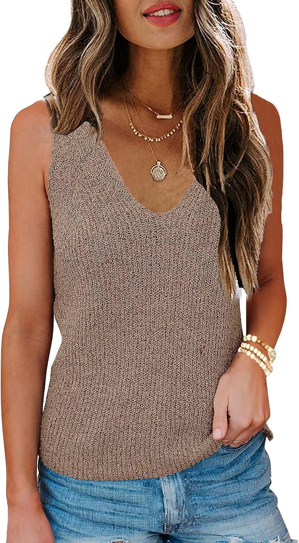 Womens Sleeveless V Neck Sweater Vest Summer Fall Tank Tops Knit Loose Cami Shirts