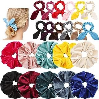 Makone 22pcs Oversized Velvet Hair Scrunchies with Bunny Ear for Women Large Velvet Hair Elastic Band Hair Ties Ponytail Holder Girls Hair Accessories