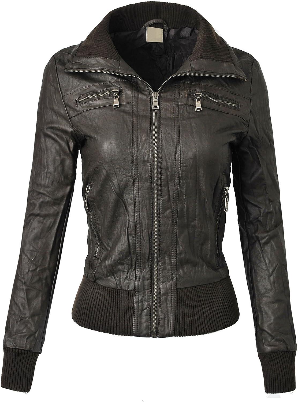BEKDO Womens Mock Collar Motorcycle Biker Zipper Faux Leather Jacket
