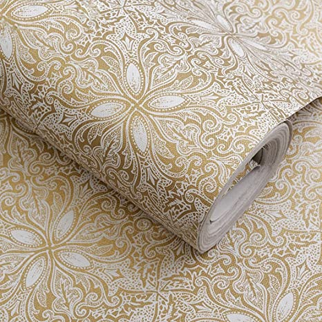 Amazon Com Self Adhesive Vintage Gold Floral Wallpaper Shelf Liner Dresser Drawers Cabinet Sticker 17 7 X 196 Inches