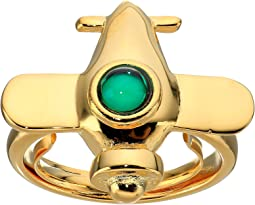 Airplane w/ Emerald Center Adjustable Ring