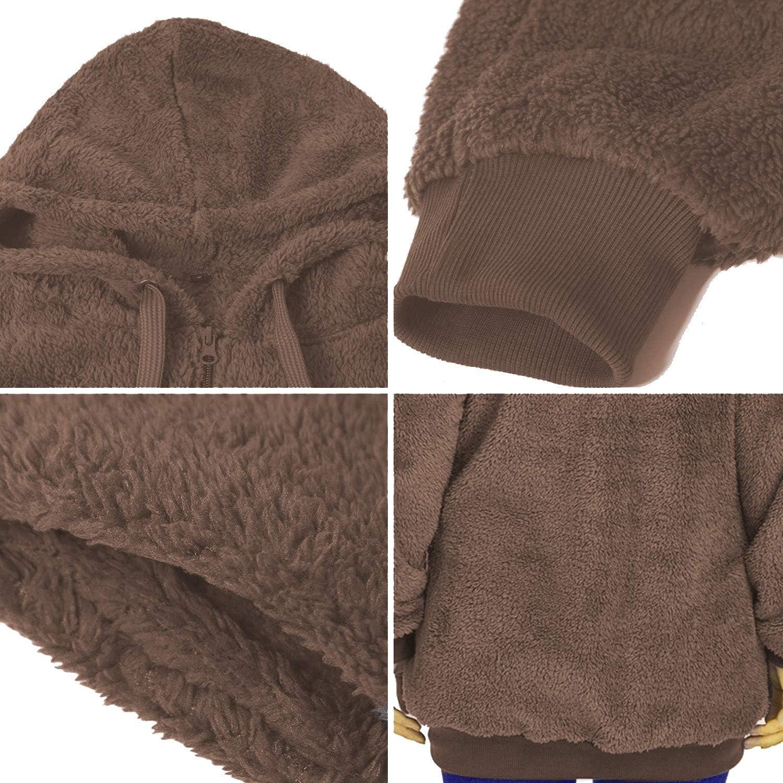 KUANG Womens Warm Fuzzy Hoodies/Zip Sherpa/Fleece Sweatshirt Pullover Outwear with Pockets